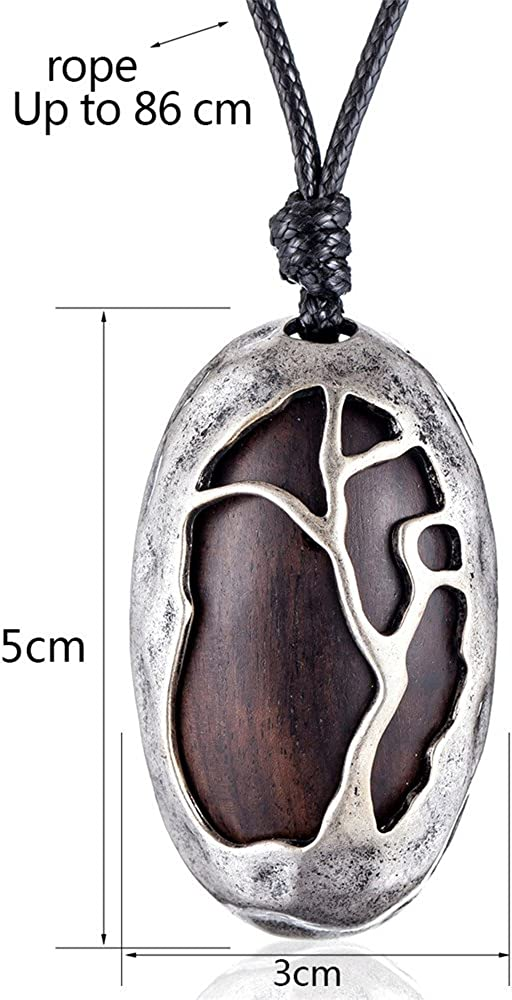 Coostuff Black Sandalwood Pendants Necklace for Women Handmade Long Sweater Necklaces Jewelry