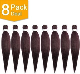 BeautyGrace 8 Packs 22 inch Pre-stretched Braiding Hair Professional Perm Yaki Synthetic Hair Braids(8 Pack, 99j)
