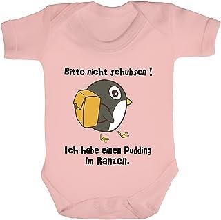 ShirtStreet Strampler Bio Baumwoll Baby Body kurzarm Jungen Mädchen Pinguin - Bitte nicht schubsen