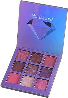 Lurrose 9 colores de sombra de ojos, brillo, maquillaje de ojos, resaltador, brillo, diamante, metálico, paleta de sombra de ojos