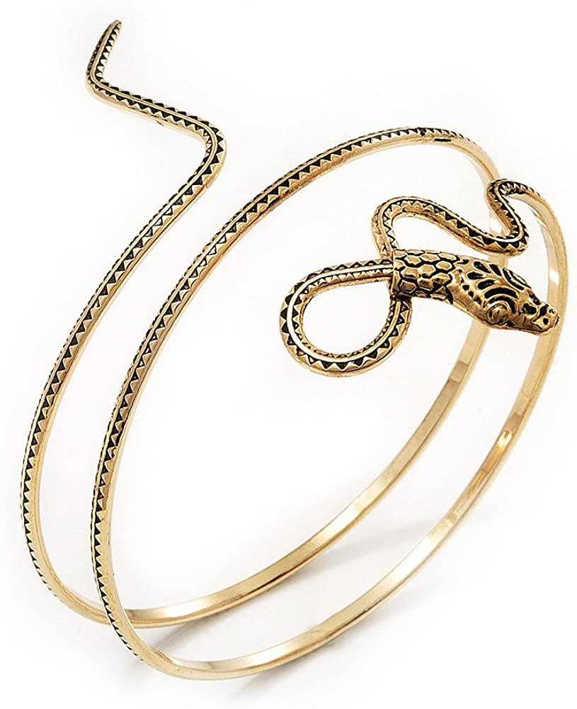 Avalaya Antique Gold Textured Snake Armlet Bangle - up to 29cm Upper arm