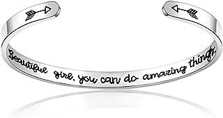 Bracciale ispiratore, CNNIK bracciale personalizzato in acciaio inossidabile inciso regalo personalizzato per donne ragazz...
