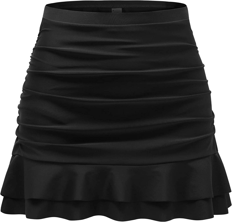 Tournesol Women's Swim Skirt High Waisted Bathing Suit Bottoms Ruched Swimsuits Tankini Bikini Shorts