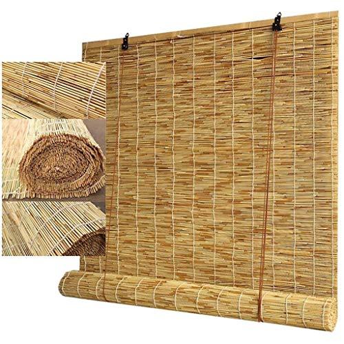 MJIA Cortina de caña Natural, persianas Romanas Laver Window Roller Persianas, Ventana de bambú Enrollable, Decoración de sombrillas en casa, Personalizable (Size : 1.2m*2m)