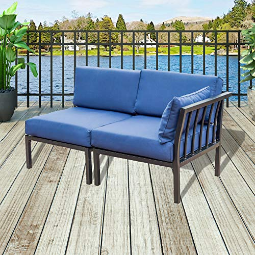 Patio Festival Patio Furniture Outdoor Conversation Set Sectional Sofa 2 PCs Corner Sofa with Cushion
