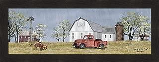 Home Cabin Décor Spring On The Farm by Billy Jacobs 16x40 Rain Flowers Dirt Old Truck Barn Silo Windmill Wheel Barrow Budding Trees Seasons Framed Art Print Picture