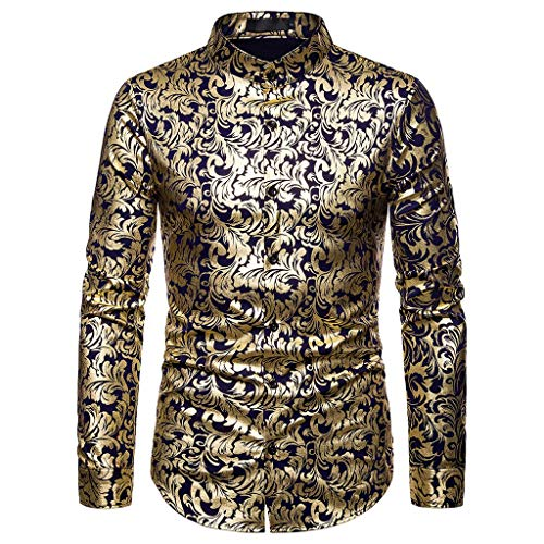 Maglietta Uomo Inverno Oro Stampa Africa Indiano VJGOAL Top Manica Lunga Camicia Uomo Slim Fit Coreana Camicie Uomo Eleganti Classiche t-Shirt Uomo Stock Magliette Uomo Polo Taglia l
