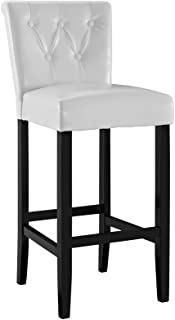 Modway Tender Faux Leather Dining Bar Stool in White with Tufted Buttons