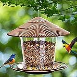 Hanizi Bird Feeders for Outside, Bird Feeder, Wild Bird Seed for Outside Feeders, Squirrel Proof Birds Feeder and Garden Decoration Yard for Bird Watchers (Brown)