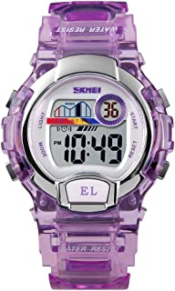 Perfect Home 1450 Women Creative Transparent Digital Watch Waterproof Sports Watch with LED Light Fashion (Color : Purple)