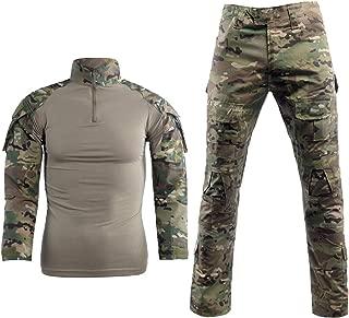 Men Combat T Shirt and Pant Set 1/4 Zip Camo Military Tactial Uniform with Long Sleeve BDU Airsoft Hunting Shirt