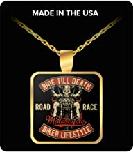Love my Life Ride Till Death Road Race Motorcycle Biker Lifestyle Necklace
