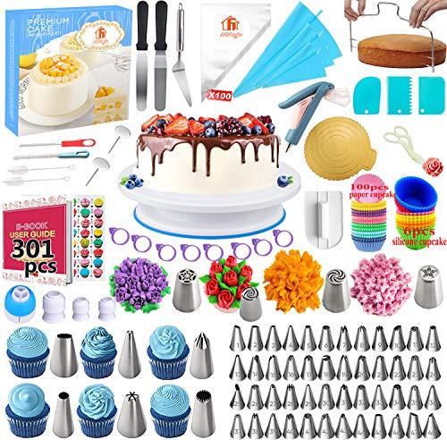 Nifogo Utensili Decorazione la Torta Kit con Torta, Borse ed Ugelli per Glassa, Giradischi, Spatola, Chiodo per Fiori, Fresa per Dolci, Spazzola(301PCS)