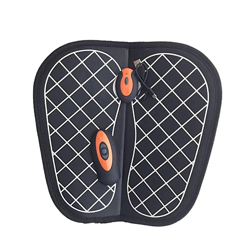 指紋文化腸電動フットマッサージャー、振動足底パルスマット、USB充電式ヘルプで血行を改善し、痛みや痛みを和らげます (Color : Orange)