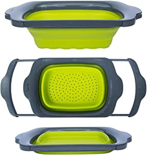 Comfify CM201523 Collapsible-Green & Grey-Over The Sink Colander with Handles-Folding Strainer for Kitchen 6-Quart Capacity, Green/Grey