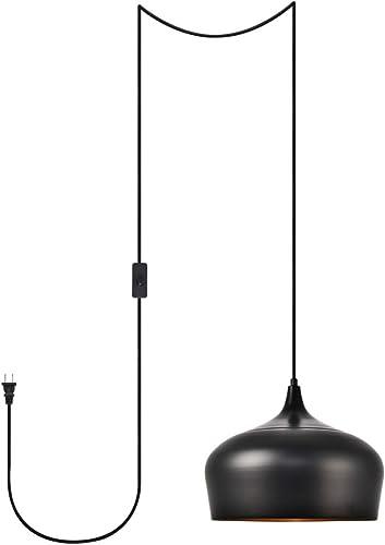 Living District Nora 1 Light Black Plug-in Pendant