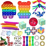 boaber Juego de 37 juguetes baratos, alivia el estrés y la ansiedad Fidget juguete para niños adultos, surtido de juguetes especiales para regalos de fiesta de cumpleaños, aula