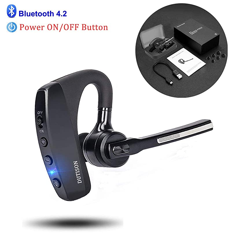 DUTISON Bluetooth Headset V4.2 Single Ear Hands Free Earpiece with Dual Mic Active Noise Cancelling Bluetooth Cell Phones Earphone for Driving/Business/Office (Compatible for iOS Android)