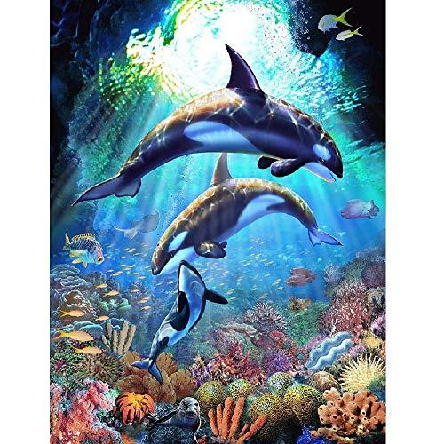 AZYVv Erwachsene Malen Nach Zahlen Kind DIY Ölfarbe Durch Anzahl-Unterwasserwelt Dolphin Dance-Art Personality Casual Games Lustiges Spielzeug Für Familienfreunde (Kein Rahmen)