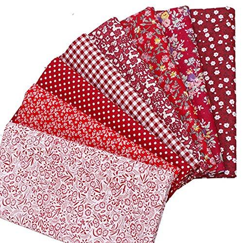 7 Stück 50 x 50 cm Rot Serie klein Blume Lattice Baumwolle Stoff für Patchwork Näharbeiten Tilda Puppe Reinigungstuch telas Patchwork