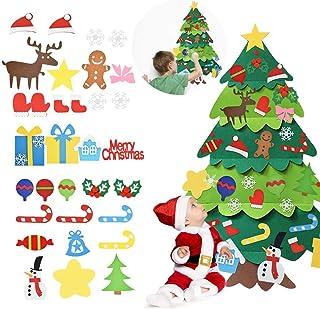 AFASOES Arbol Navidad Fieltro para Pared 94x70 cm Pino de Fieltro Navideños con 32 Adornos Arbol Navidad Velcro Árbol Fiel...