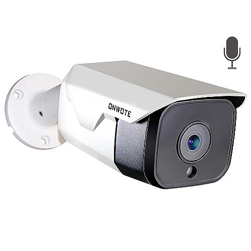 ONWOTE 【Audio】 5MP HD PoE Security IP Camera Outdoor, 5 Megapixel 1944P Bullet Video Surveillance ONVIF Camera, 100ft Night Vision, IP65 Waterproof, Motion Alert