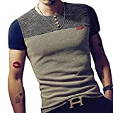 LOGEEYAR Mens Premium Fitted Short-Sleeve Contrast Color Stitching T-Shirt (M, Navy Blue)