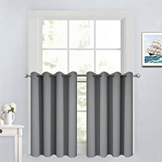 Yakamok Blackout Window Valance for Kitchen, Energy Efficient Drapes Short Curtains for Cafe Store(52W by 36L, Grey, 2 Panels)
