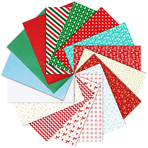 200pcs Christmas Tissue Paper, 16 Different Style Wrapping for Christmas Boxes, Xmas Wrapping Bags and Wine Bottles