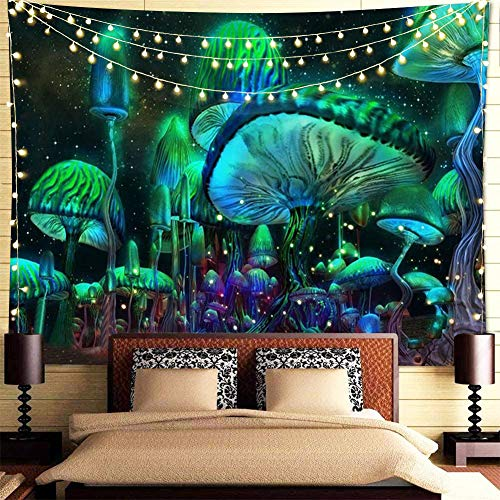 Psychedelic Mushroom Tapestry Fantasy Waves Hippie Tapestry Wall Hanging Nebula Galaxy Trippy Tapestries for Bedroom Living Room Dorm Decor, 51x59