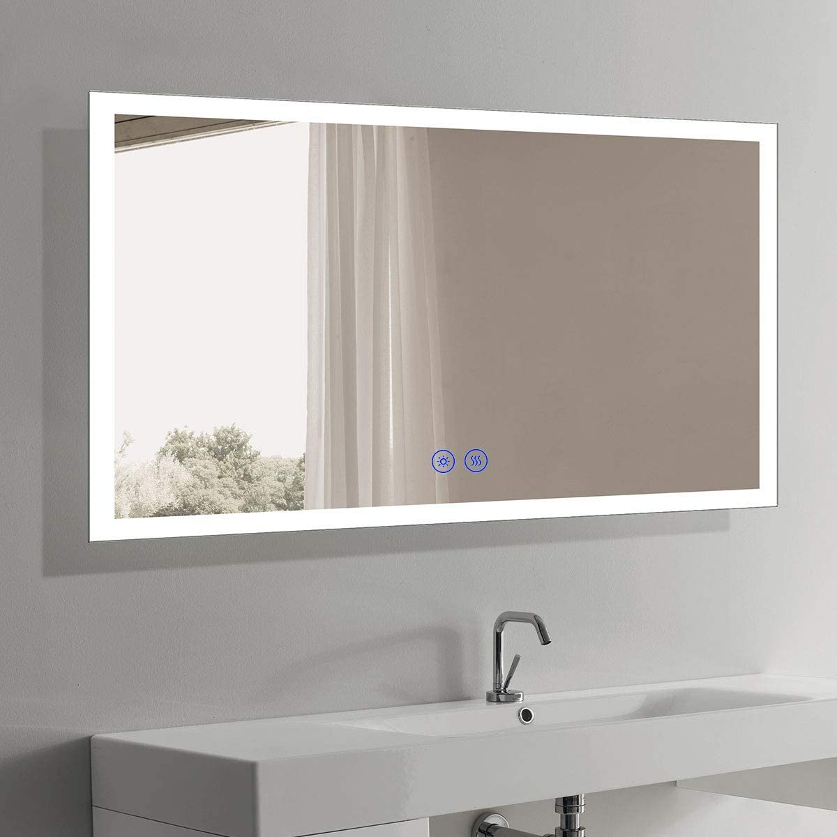 Amazon Com Dimmable Led Bathroom Mirror With Anti Fog Function Wall Mounted Vanity Large Mirror With Touch Button Vertical Horizontal 60x36 In Iluminated Mirror Ip 44 6000k White Lights Ul Nt03 6036 Home