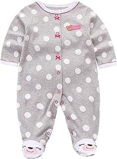 Minizone Baby Mädchen Pyjama Langarm Overalls Strampler Baumwolle Spielanzug Outfits 0-12 Monate
