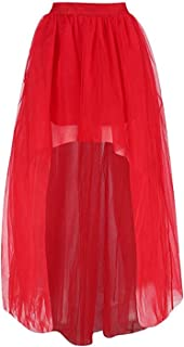 Women's Mesh Tulle High Low Dance Party Skirt A-Line Petticoat for Dresses