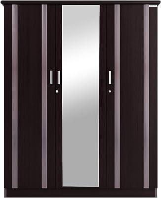 Zurina Wooden Wardrobe (3 Door, Mirror, Sonoma Oak)