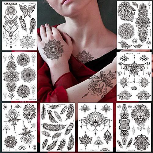 TheStriven Tatuaggi Temporanei Set Di 9 Tatuaggi Temporanei In Diversi Disegni Tatuaggi Impermeabile Gioielli Mandala Tatuaggi Motivi in Stile Pizzo Nero Adesivi Tatoo Finti Rimovibili per Body Art