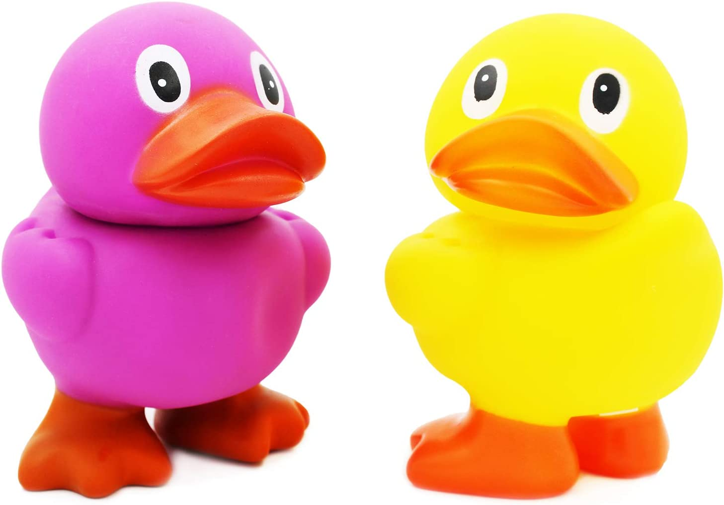 Bath Pool Activity 6.5 Tall Jumbo Rubber Duck Toy With Flippers Baby Shower Giant Rubber Duckies for Kids 2-Pack Assorted Party Favors Squeeze To Squeak N Quack Birthday