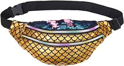 Beinou Mermaid Sequins Fanny Pack Disco Bum Bag for Women Adjustable Party Waist Bag Sparkly Rave Hip Pouch Shoulder Bags Chest Pack Belt Purse for Camp Travel Outdoors Festival