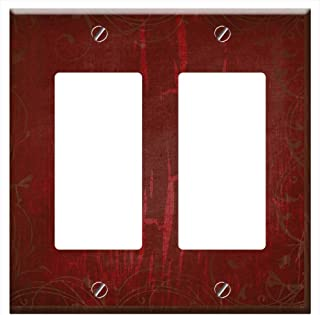Switch Plate Double Rocker/GFCI - Background Grunge Red Texture Burgundy