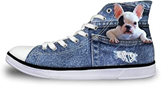 Coloranimal Women High Top Canvas Shoes Denim 3D Cat Dog Printed Sneakers