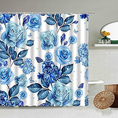 XCBN Ros duschdraperi blommor pastoral stil rosa blå lila hem badrum dekoration vattentät gardin med krok D 180 x 200 cm