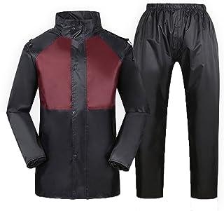 ZEMIN ポンチョ レインウェア レインコート ポンチョ ウインドブレーカー 防水 カバー ズボン セット ライディング 大人 通気性 ポリエステル、 黒、 2サイズあり (色 : 黒, サイズ さいず : XXL)
