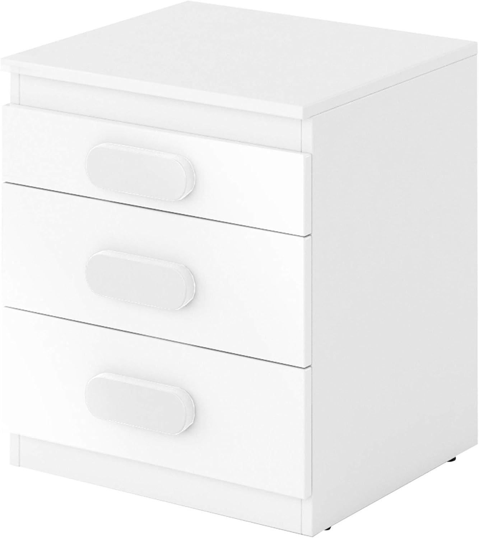 Mirjan24  Container Replay RP11 mit 3 Schubladen, Schrank unter Schreibtisch, Jugendzimmer, Kinderzimmer (Wei Wei Hochglanz, Wei)