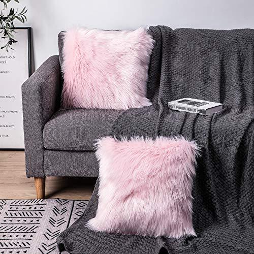 Sweetwill, 2 federe per cuscini decorative, 50 x 50 cm, in pelliccia di agnello, pelo lungo, in finta pelliccia