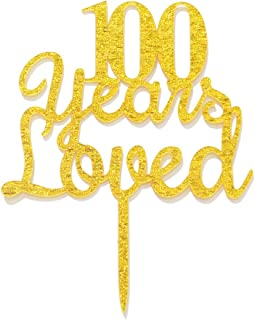 Qttier 100 Years Loved Cake Topper Happy 100th Birthday Anniversary Party Decoration Premium Quality Acrylic Gold