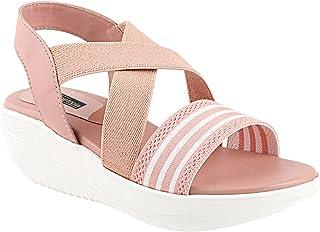 Shoetopia Women Striped Plateform Wedges Sandals