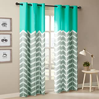 Intelligent Design ID40-555 Aqua Living, Modern Contemporary Grommet Room Darkening Bedroom, Alex Geometric Chevron Window Curtains, 42X84, 2-Panel Pack