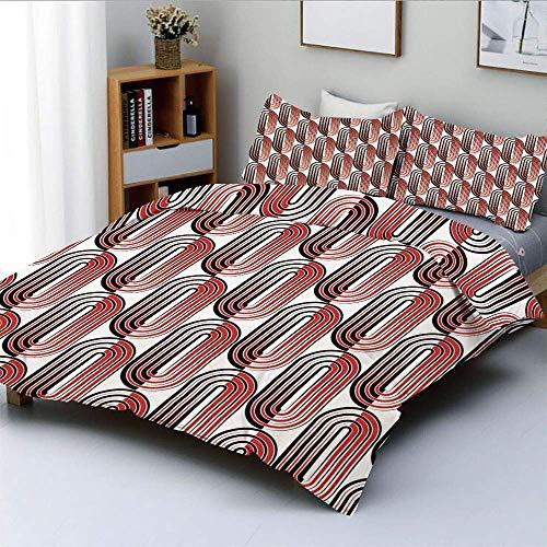 Juego de funda nórdica, curvas de elipse, puntos focales rodeados Educación matemática Motivo moderno Decoración decorativa Juego de cama de 3 piezas con 2 fundas de almohada, blanco bermellón, el mej