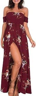 Large Size Dress Han Shi Women Boho Off Shoulder Floral Long Gown Ladies Sundress (2XL, Red)