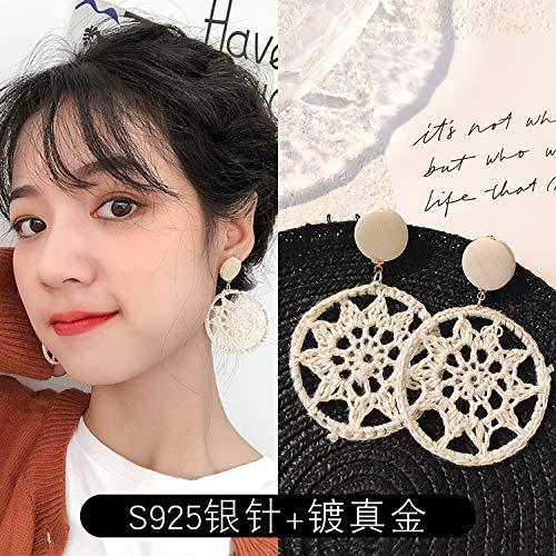 Chwewxi Vintage Port Wind s Silber Nadel Spitze gewebt Ohrringe koreanische Temperament Ohrringe weibliche Flut, Beige gehäkelte sechszackigen Stern (plattiert Gold + Silber Nadel)