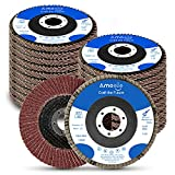amoolo 4.5 Inch Flap Discs, 20PCS-40 60 80 120 Grit Angle Grinder Sanding Discs, High Density Abrasive Grinding Wheels Type 29 for Metal/Wood Grinding (7/8 inch Arbor Size)